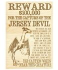 Engraved Wood JERSEY DEVIL Wanted Poster Pine Barrens 13th Child Leeds Cryptid