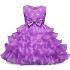 Communion Princess Baby Girls Dress Gown Bridesmaid Wedding Party Kids Clothes