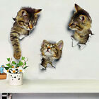 Removable Cat Toilet Seat Sticker 3D Hole Wall Decal Fridge Bathroom Decoration