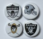"""Oakland Raiders Team Logo Set of 4 1.25"""" Buttons or Magnets NFL Football"""