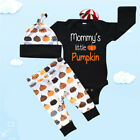 Baby Boys Girls Infant Halloween Suits Tops +Long Pants Hat Outfit Clothes Set