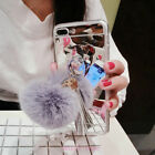 For iPhone X 8 6S 7 Plus Cute Mirror Plush Ball Tassel Bracelet Soft Case Cover
