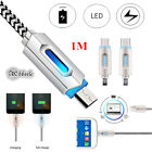 USB 3.1 Nylon Braided Lights LED Micro/Type-C USB Cable Android Sync Data Cable