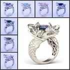 8 Colors Mermaid Style Mutil Gmestones White Gold Filled Women Wedding Band Ring