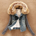 Winter Warm Women Fur Collar Denim Coats Ladies Jacket Overcoat Jean Outwear New