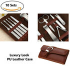 Mens Luxury 10 Piece Manicure Pedicure Leather Nail Clipper Grooming Travel Set