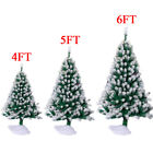 4ft 5ft 6ft Green Artificial Christmas Tree Snow Flock Winter Décor w/Stand S2