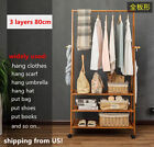 Bamboo Clothes Rail Stand Wardrobe Shoe Shelves Storage Rack Hooks High Quality