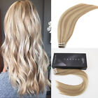 skin weft hair extensions - Highlights Ash Blonde to Bleach Blonde Skin Weft Human Hair Tape in Extensions