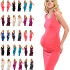 Purpless Sleeveless Jersey Ruched Pregnancy Maternity Midi Dress Dresses D8130