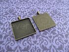 30mm Square Pendant Trays - Antique Bronze - 1 3/16