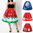Women Stretch High Waist Skater Flared Pleated Swing Skirt Christmas Party Dress
