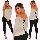 Sexy Women Off Shoulder Long Sleeve Lace Up Back Shirt Casual Crop Top Blouse