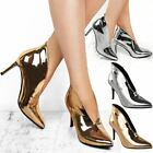 Womens Ladies Deep V Cut Boots High Heels Party Silver Sandals Slip On Size