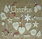 EAST OF INDIA SHABBY CHIC RETRO WOODEN CHRISTMAS TREE DECORATIONS  HANDPAINTED
