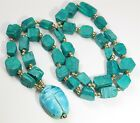 Vintage Ancient Egyptian Faience Green Turquoise Carved Scarab Bead Necklace 23""
