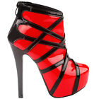 Show Story Punk Red Black Strappy Platform Stiletto Ankle Bootie Boots