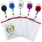 5 Pack - Retractable Carabiner Reels with Clear Vertical ID Name Badge Holder