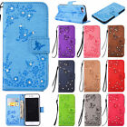 Glitter Floral Stand Leather Card Wallet Magnetic Case Cover For iPhone X 7 6S 5