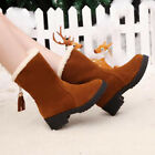 Work Women's Winter Warm Casual Leather Fur Lace up Outdoor Snow Boot oAUR #020