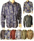 Mens Thai Silk Long Sleeve Patterned Shirts Casual Paisley Hawaiian Small - 2XL