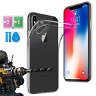 iPhone Transparent Soft TPU Silicone Case Cover Tempered Glass Screen Protector