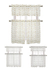 Adler Metallic Embroidered Leaves Sheer Kitchen Curtain Set - Assorted Colors