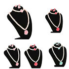 Kids Necklace Bracelet Ring Ear Clips Set Jewelry Girls Accessories Big GU PL
