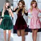 Fashion Women Long Sleeve Winter Velvet Dress Prom Evening Party Mini Dress Belt