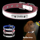 Reflective Personalised Dog Collars Soft Leather for Small Medium Dog Cat Puppy