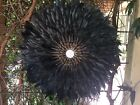 New!!! Black swan feather & chocolate shell juju hat wall feature 3 sizes.