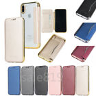 Ultra thin Electroplated transparent back PU Leather Flip Card Wallet Cover Case