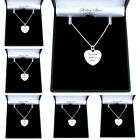 Sterling Silver Heart Necklace, Personalised with Engraving for a Woman or Girl