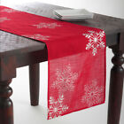 Fennco Styles Embroidered White Snowflake Holiday Christmas Red Table Runner