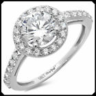 Marry 2.35Ct Halo VVS1 Round Cut Lab Diamond Engagement Ring Pure 14K White GOLD