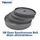 Black Arc Tooth PU HTD 3M Open Timing Belt Width 20/25/30/40mm Polyurethane