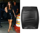 NEW LADIES UK 8-26 BLACK FAUX LEATHER SEXY PVC WET LOOK STRETCHY MINI SKIRT