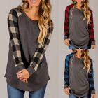 Womens Round Neck Long Sleeve Casual Pullover Loose Jumper Blouse Top T Shirt