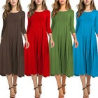 Women 3/4 Sleeve Loose Plain Round Neck Swing Casual A-line Swing Midi Dress