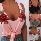 Lady Girls Rose Embroidered V Neck Sling Shirt Sleeveless Knot Crop Top Casual