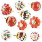 Red & White Ceramic Drawers Knobs Door Cupboard Pulls Knob only ships to USA