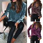 Ladies Sexy Autumn Long Sleeve Button Down Shirt Loose Velvet Pocket Blouse Tops