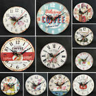 Vintage Rustic Wooden Wall Clock Antique Shabby Retro Home/Kitchen Decor