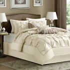 Luxury 7pc Ivory Pleated Comforter Set AND Decorative Pillows