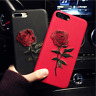 New Embroidery Rose Soft Shockproof Case Cover For Apple iPhone X 8 7 6S Plus 5s