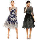 skater dress for wedding - Women Vintage Lace Floral Swing Skater Dress for Wedding Cocktail Evening Party