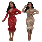 Sexy Women Sequin Club Long Causual Bandage Bodycon Party Elastic Dress