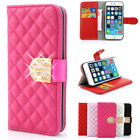 Crystal Diamond Flip Case Cover Leather Bling For iPhone 6 6S &Plus 5S 5C 5 4S 4