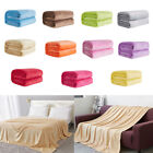 EP_ Soft Solid Color Thickened Warm Flannel Blanket Sofa Bedroom Throw Rug Cheap image