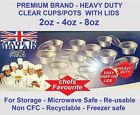 Round Clear Plastic Food Storage Container Cups with Lids Deli- Pots Sauce-Tubs
